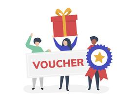 Character illustration of people holding voucher icons
