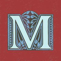 Capital letter M vintage typography style