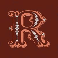 Capital letter R vintage typography style