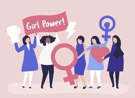 Femministe che sostengono l'uguaglianza di genere con una manifestazione pacifica