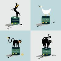 Collage of animals standing on a donation box