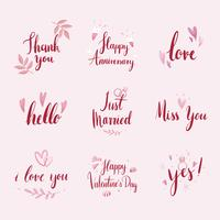 Set of wedding and love typography vectors