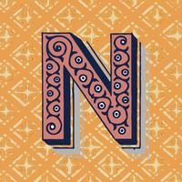Capital letter N vintage typography style