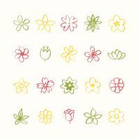 Ilustración conjunto de iconos de flores