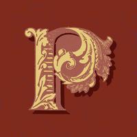 Hoofdletter P vintage typografie stijl