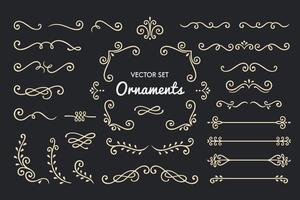 Conjunto de coleção de elementos de ornamento vintage em fundo preto