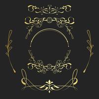 Conjunto de vector de elementos de oro art nouveau vintage