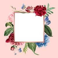 Ilustração de cartão de quadro floral em branco