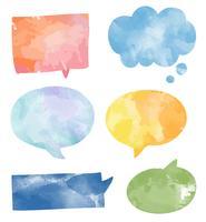 Conjunto de vetor de bolhas coloridas discurso aquarela