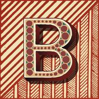 Letra maiúscula B estilo de tipografia vintage