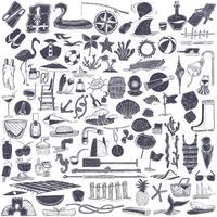 Ilustración de objetos de verano y playa.