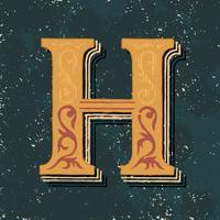 Huvudbokstav H vintage typografi stil