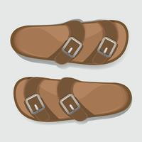 Man Brown Casual Flip Flop Sandal Skor Vector