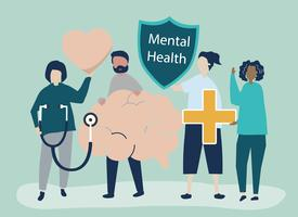 People holding icons related to mental health