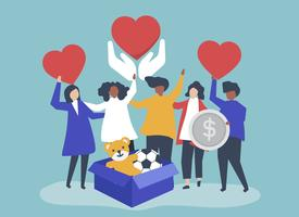 Pessoas voluntárias e doando dinheiro e itens para uma causa de caridade