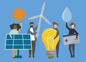 Mensen met illustratie van hernieuwbare energiebronnen