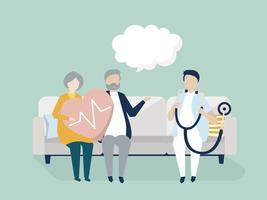 Seniores, recebendo um check-up em um hospital