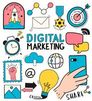 Hand getrokken set van digitale marketing symbolen illustratie