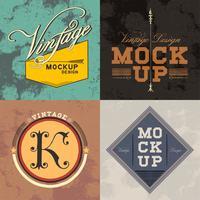Conjunto de vector de diseño de logo de maqueta vintage