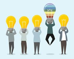 People with bright ideas illustration
