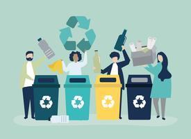 Människor sorterar sopor för återvinning