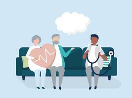 Persone anziane che ricevono un controllo in un ospedale