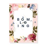 Blooming floral frame card illustration