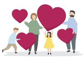 Famiglia felice con cuori rossi