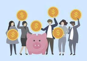 Affärsmän och bankirer med pengar illustration