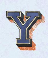 Hoofdletter Y vintage typografie stijl