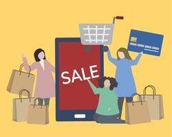 People with shopping icons illustration