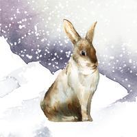 Coniglio marrone selvaggio in un paese delle meraviglie invernale dipinto dal vettore dell'acquerello