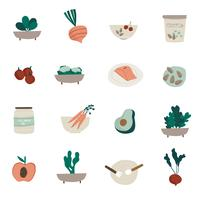 Set Ikonenvektoren des biologischen Lebensmittels