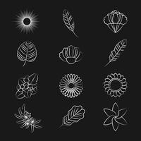 Sats med naturprydnadssymboler