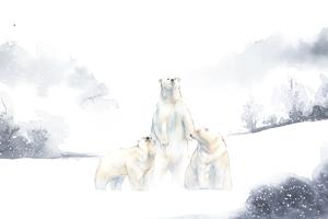 Polar bears in the snow watercolor vector