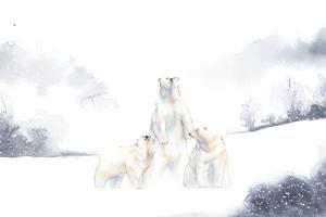Polar bears in the snow watercolor vector