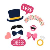 Wedding booth props for woman and man vector