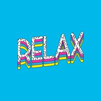 Entspannen Sie sich Typografievektor auf blauem Hintergrund
