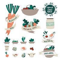 Sats med naturliga och ekologiska livsmedelskort vektor