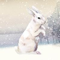 Coniglio bianco selvaggio in un paese delle meraviglie invernale dipinto dal vettore dell'acquerello
