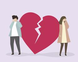 A couple crying due to a broken heart illustration