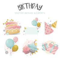 Colección de vectores de placa de cumpleaños colorido