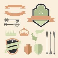 Set of colorful label ornament vectors