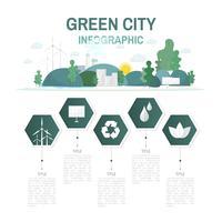 Groene stad infographic milieubehoud vector