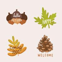 Insieme dell'illustrazione di foglie di autunno