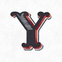 Huvudstämpel Y vintage typografi stil