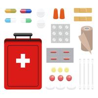 Collection of first aid and medicines illustration