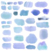 Blue watercolor design set