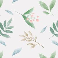 Watercolor green leaf patterns vector