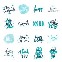 Collection de typographies d'amour festives bleues